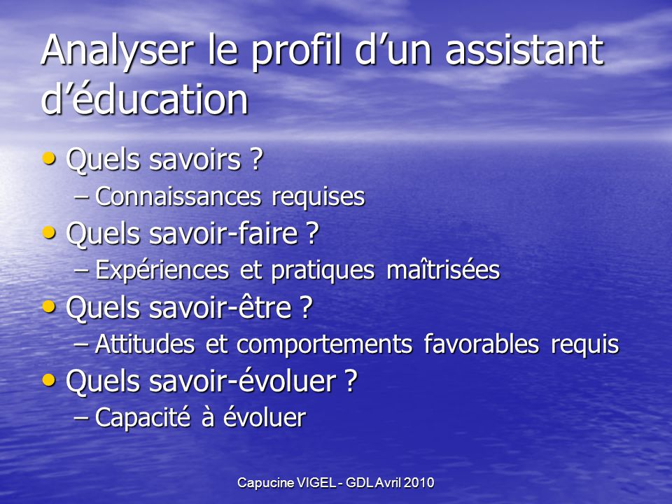 Analyser le profil d'un assistant d'éducation