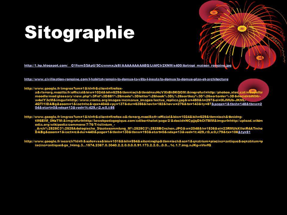 Sitographie http://1.bp.blogspot.com/__G1fwmSSApU/SCcwnmxJz5I/AAAAAAAAAEQ/LtAfClr2XNM/s400/Astrapi_maison_romaine.jpg.