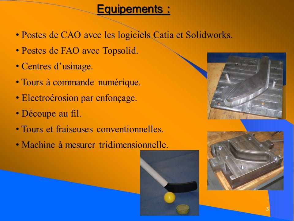 Equipements : Postes de CAO avec les logiciels Catia et Solidworks.