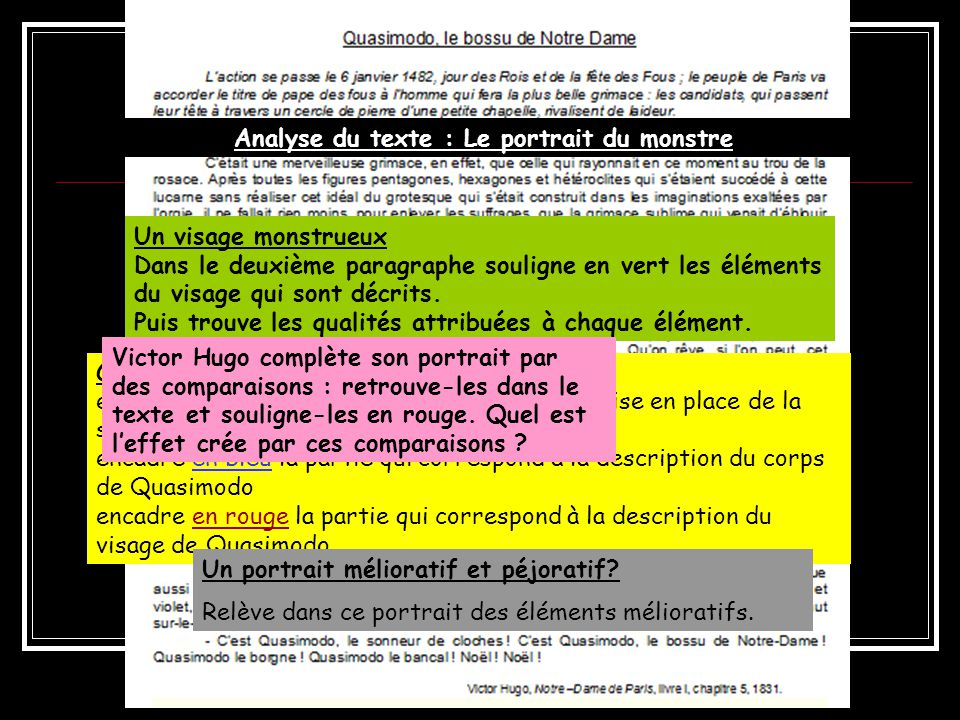 Analyse du texte : Le portrait du monstre