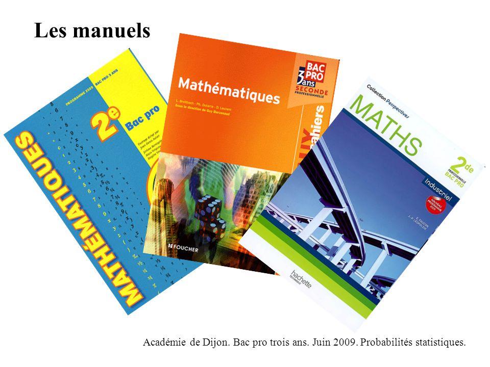 Les manuels Académie de Dijon. Bac pro trois ans. Juin 2009. Probabilités statistiques.