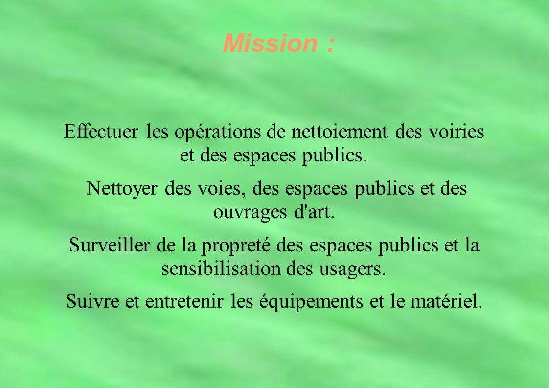 Mission : Mission : Effectuer les opérations de nettoiement des voiries et des espaces publics.