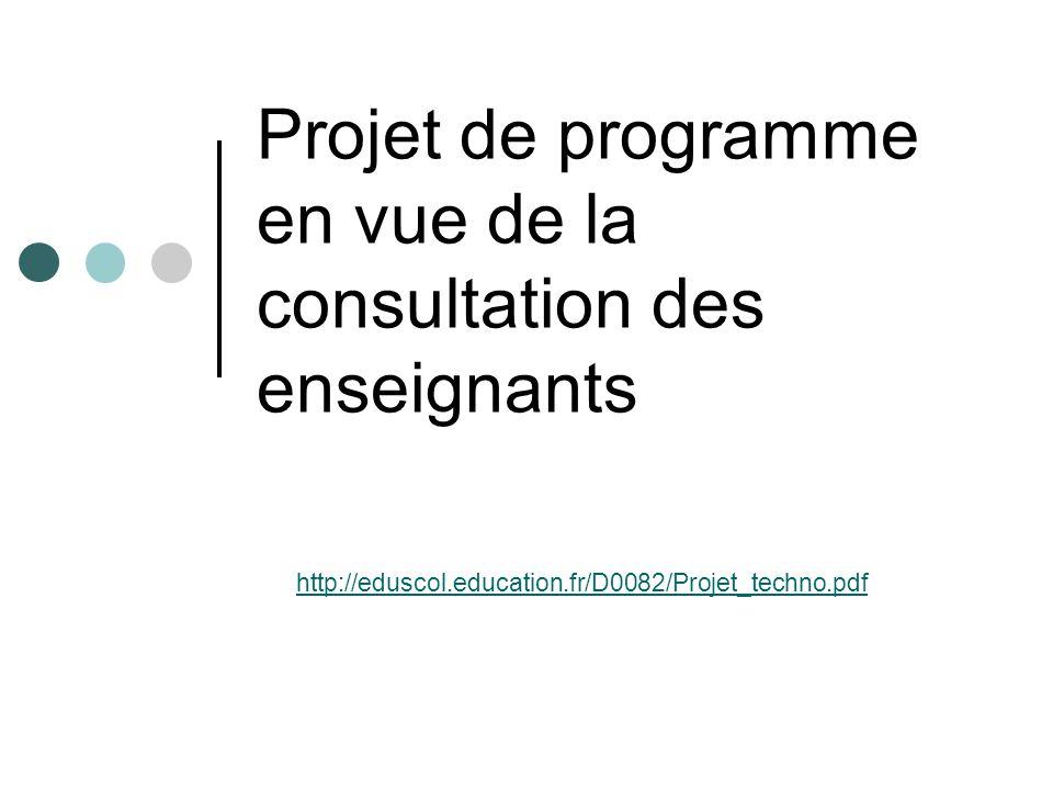 Projet de programme en vue de la consultation des enseignants