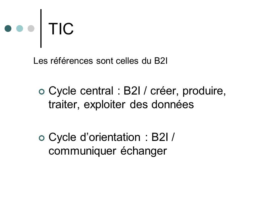 TIC Les références sont celles du B2I. Cycle central : B2I / créer, produire, traiter, exploiter des données.