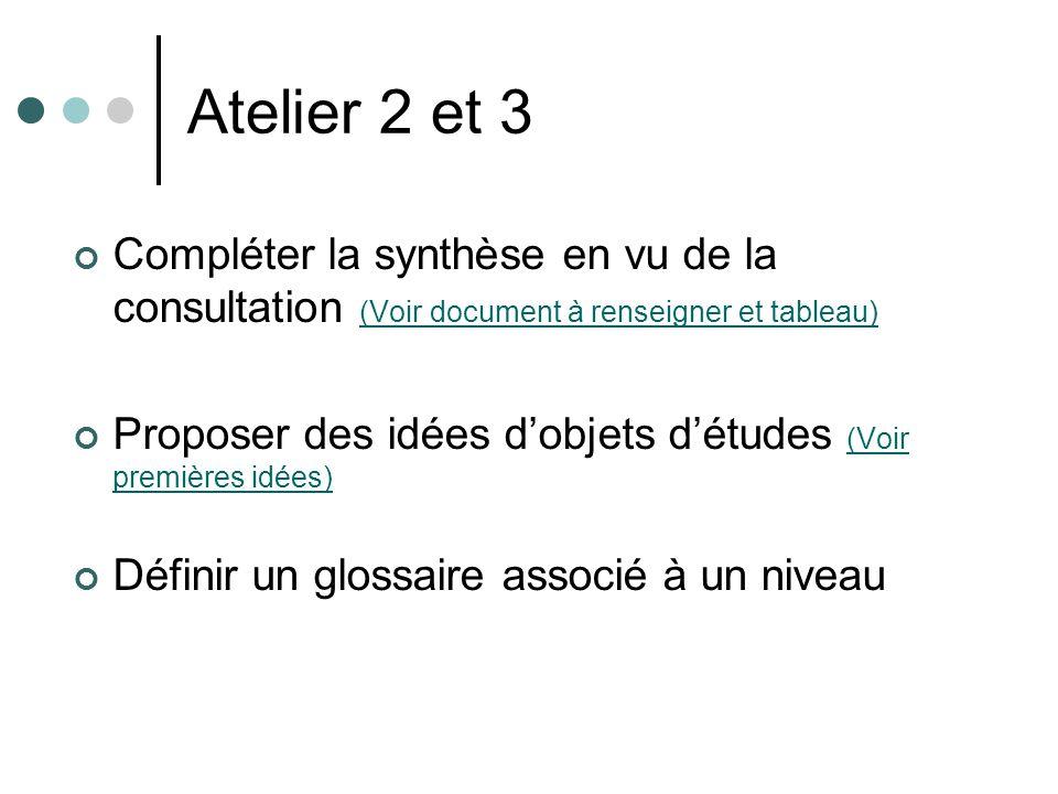 Atelier 2 et 3 Compléter la synthèse en vu de la consultation (Voir document à renseigner et tableau)