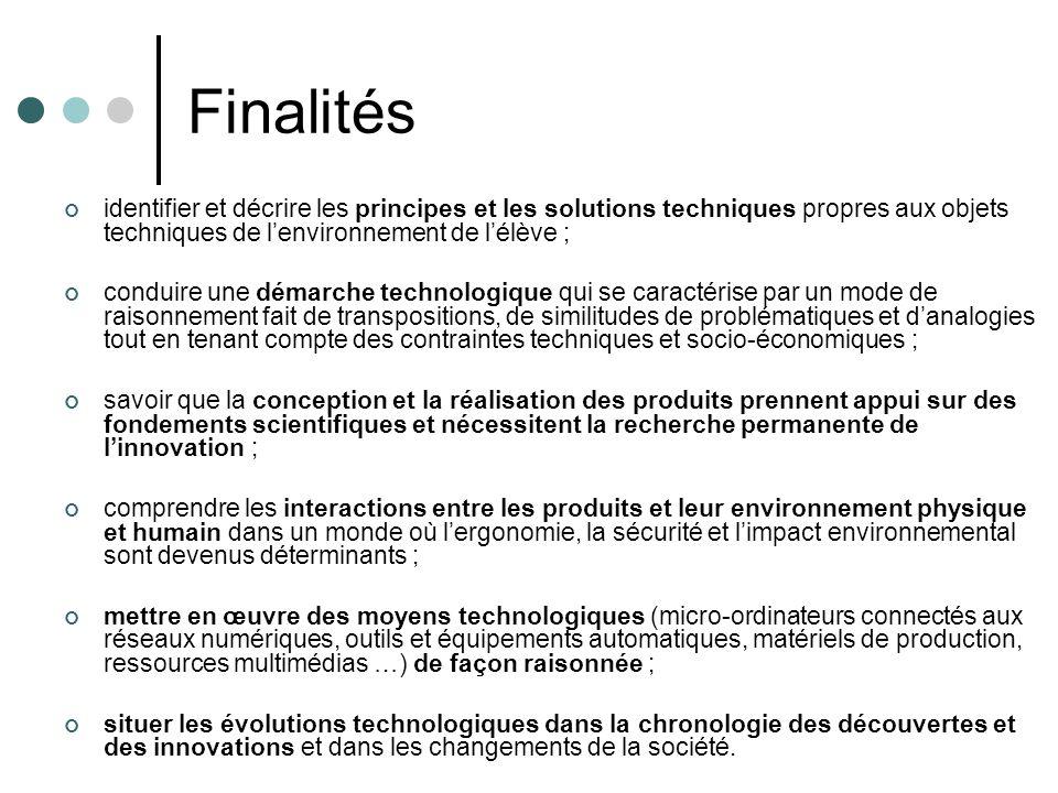 Finalités identifier et décrire les principes et les solutions techniques propres aux objets techniques de l'environnement de l'élève ;