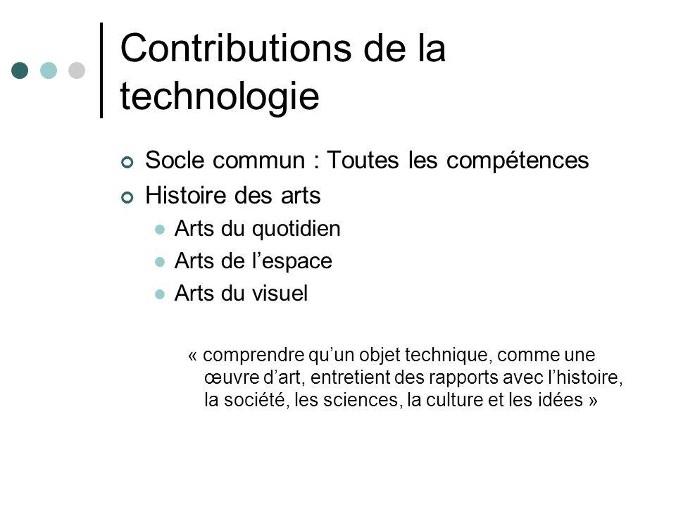 Contributions de la technologie