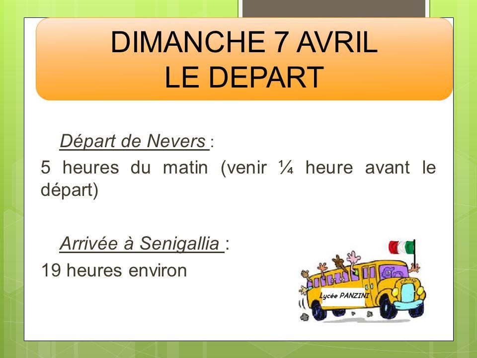 DIMANCHE 7 AVRIL LE DEPART