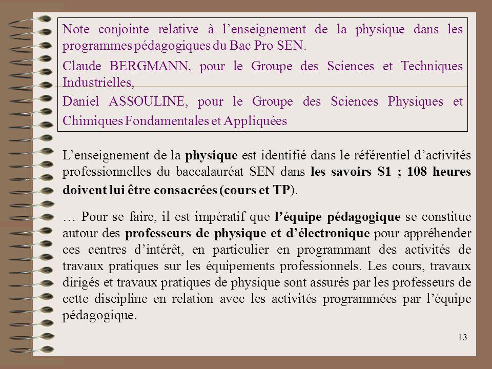 Note conjointe relative à l'enseignement de la physique dans les programmes pédagogiques du Bac Pro SEN.