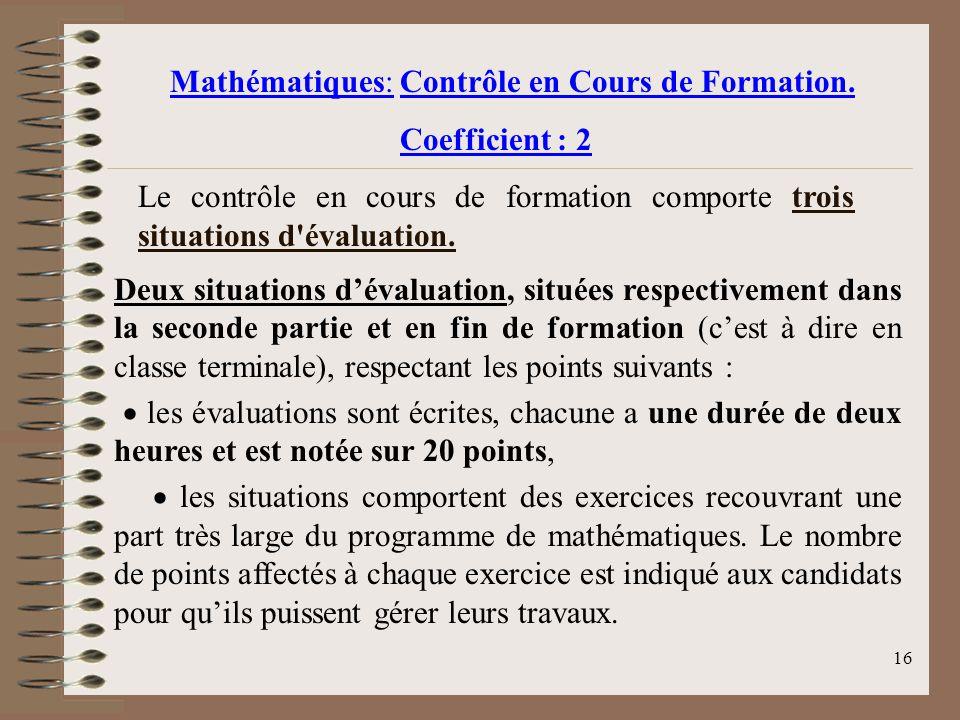 Mathématiques: Contrôle en Cours de Formation.