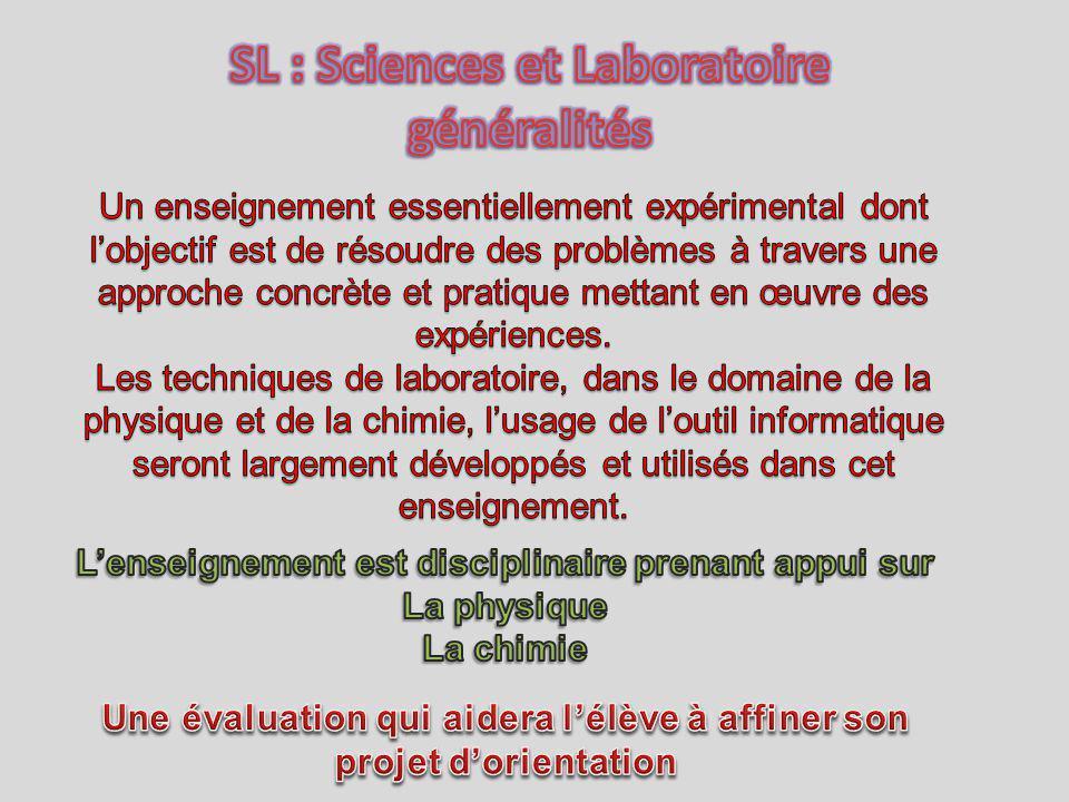 SL : Sciences et Laboratoire généralités