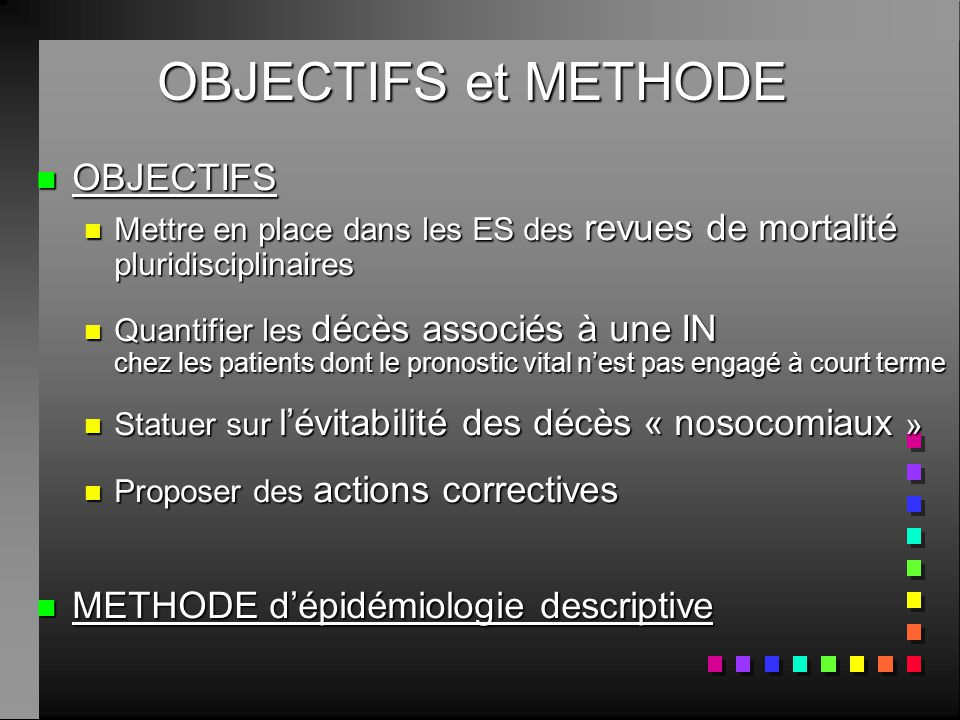 OBJECTIFS et METHODE OBJECTIFS METHODE d'épidémiologie descriptive