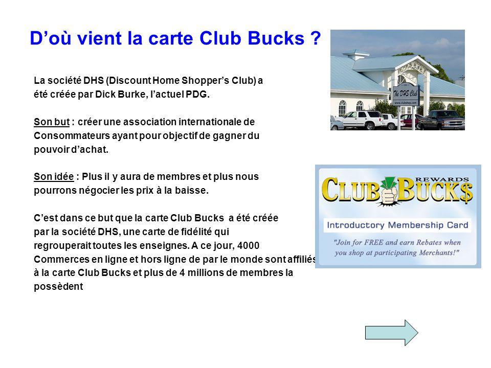 D'où vient la carte Club Bucks
