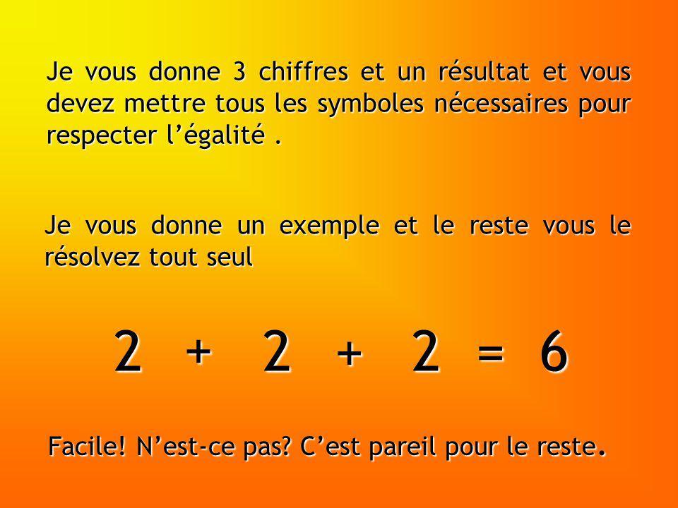 Je vous donne 3 chiffres et un résultat et vous devez mettre tous les symboles nécessaires pour respecter l'égalité .