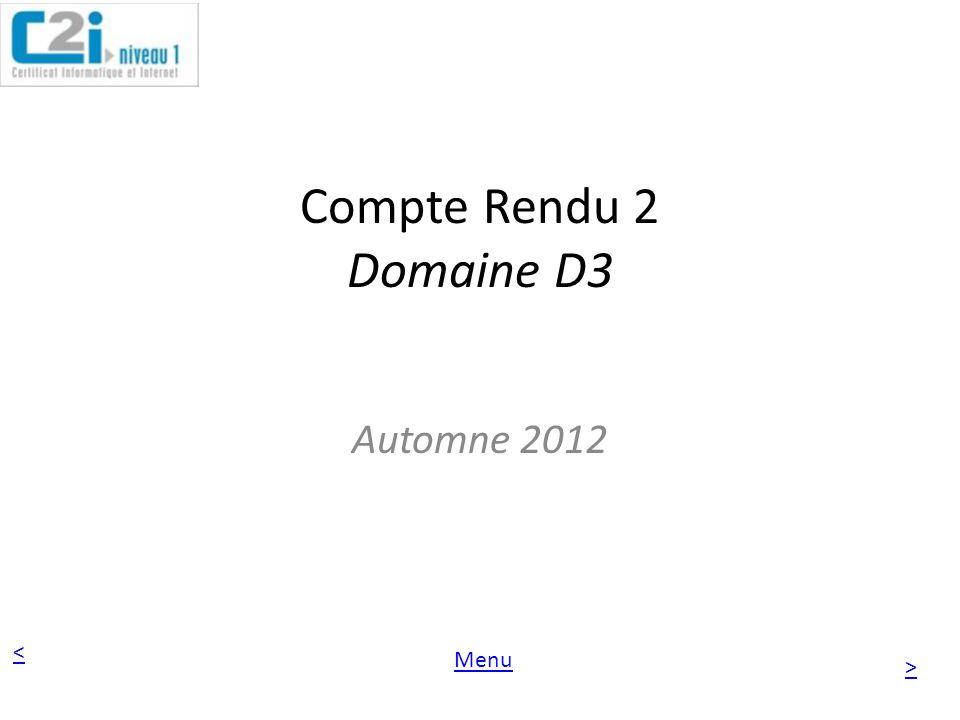 Compte Rendu 2 Domaine D3 Automne 2012