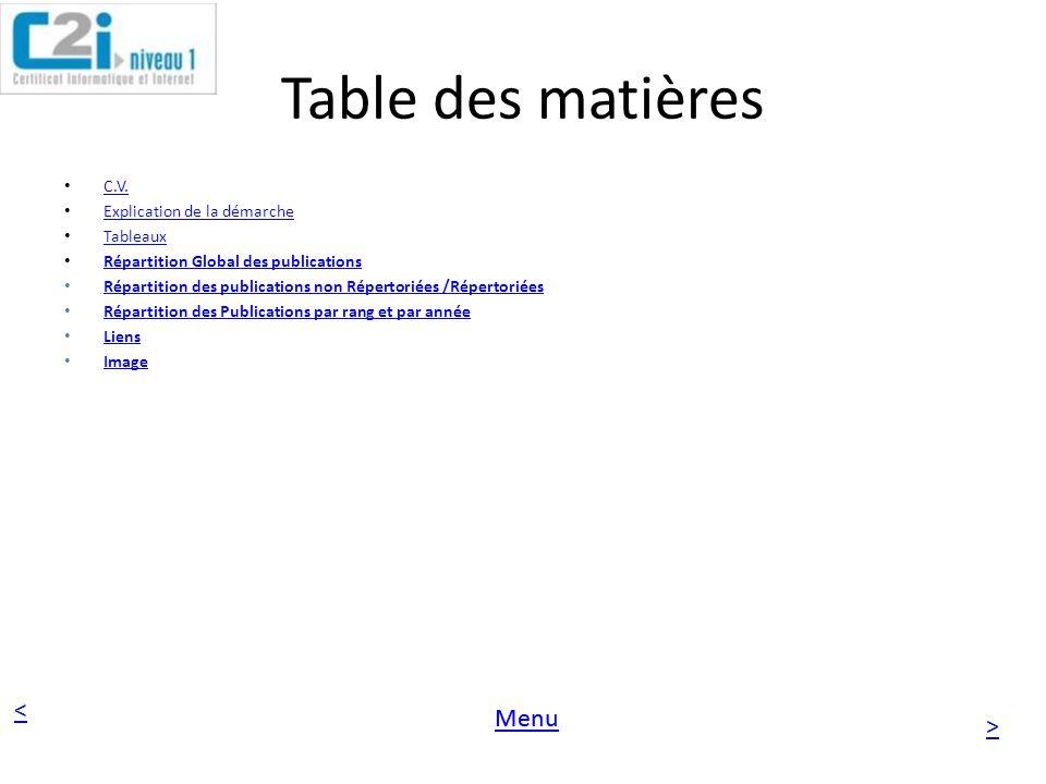 Table des matières C.V. Explication de la démarche Tableaux
