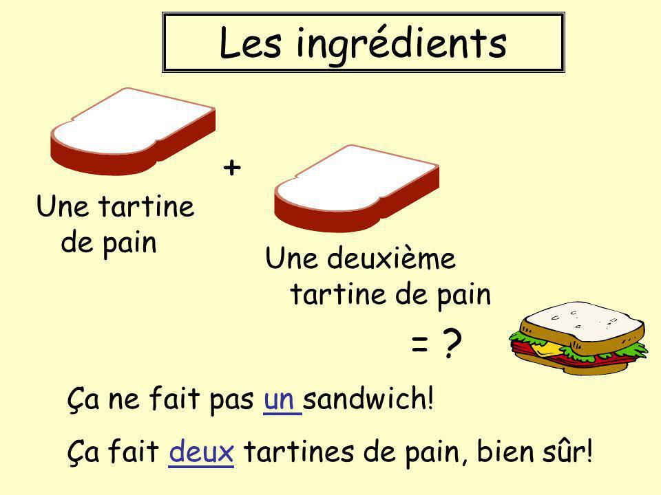 Les ingrédients + = Une tartine de pain Une deuxième tartine de pain