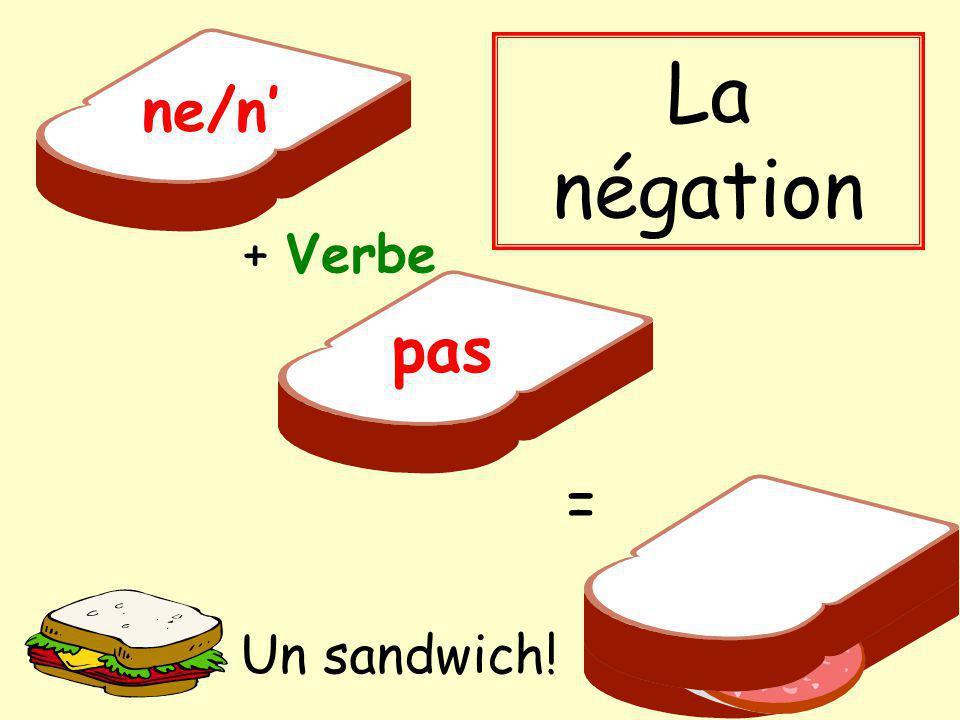 La négation ne/n' + Verbe pas = Un sandwich!