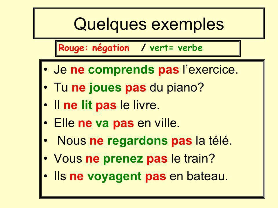 Quelques exemples Je ne comprends pas l'exercice.