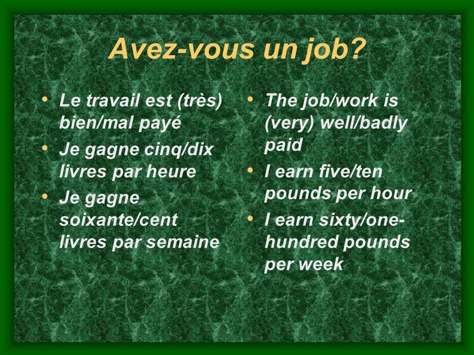 Avez-vous un job Le travail est (très) bien/mal payé
