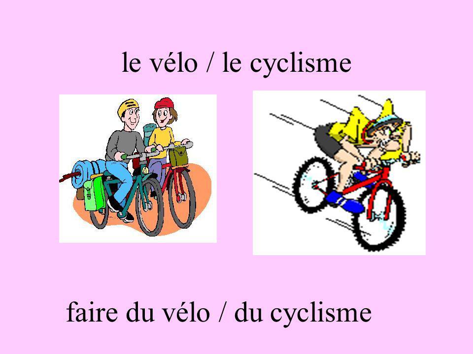 faire du vélo / du cyclisme