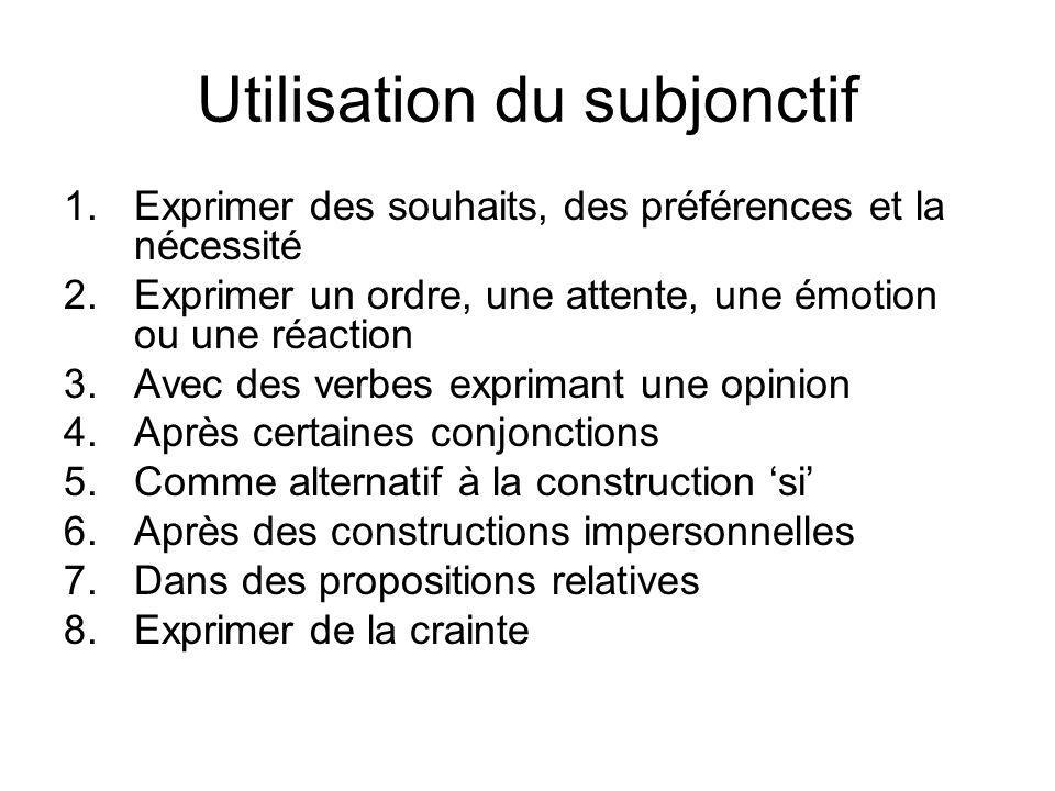 Utilisation du subjonctif