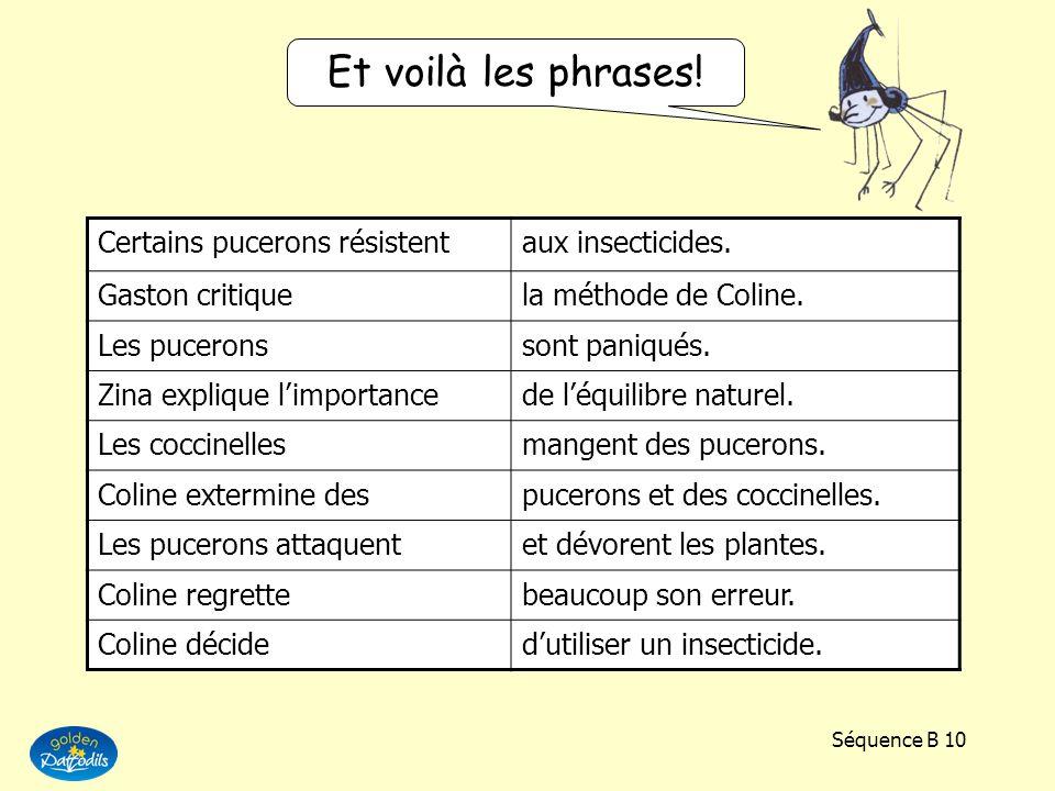 Et voilà les phrases! Certains pucerons résistent aux insecticides.