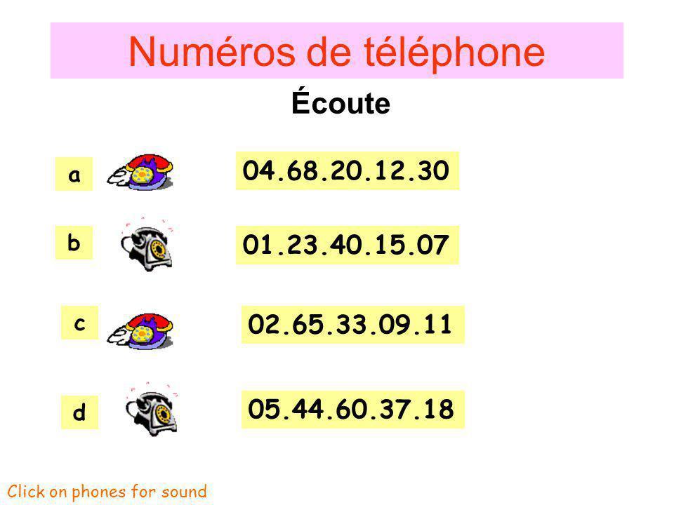 Numéros de téléphone Écoute 04.68.20.12.30 01.23.40.15.07