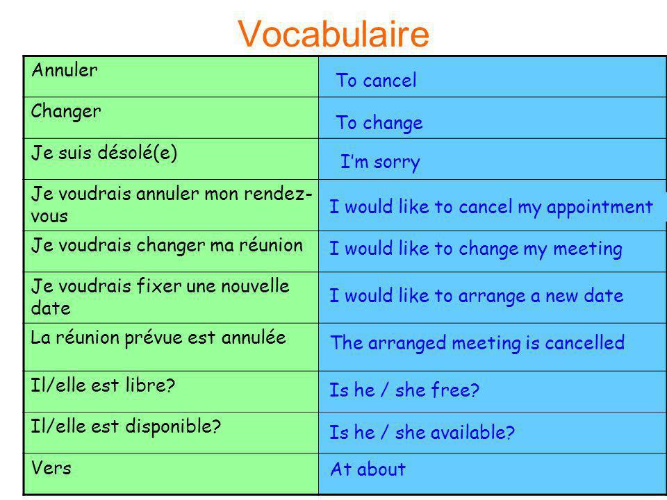 Vocabulaire Annuler Changer Je suis désolé(e) To cancel