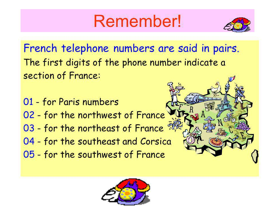 Remember! French telephone numbers are said in pairs.