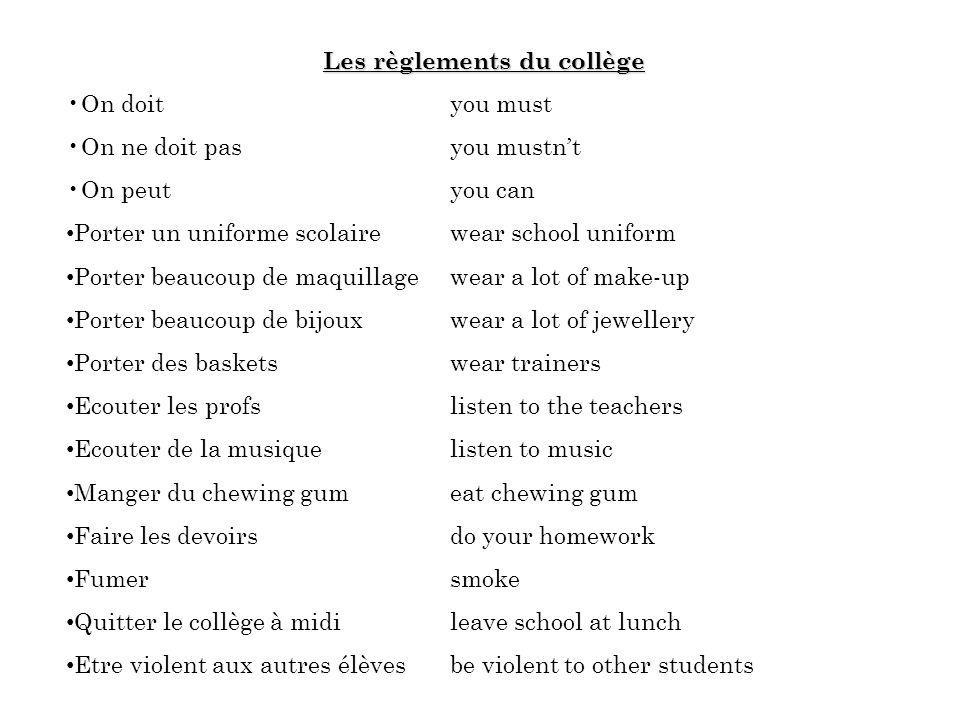 Les règlements du collège