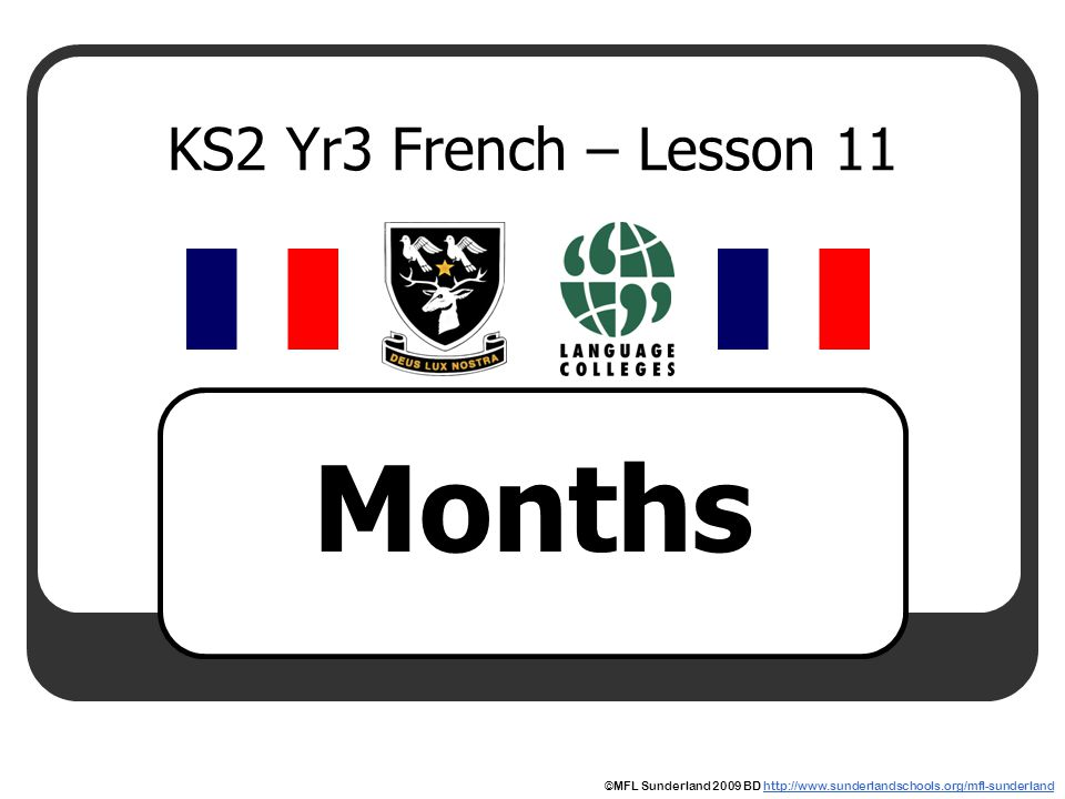 Months KS2 Yr3 French – Lesson 11