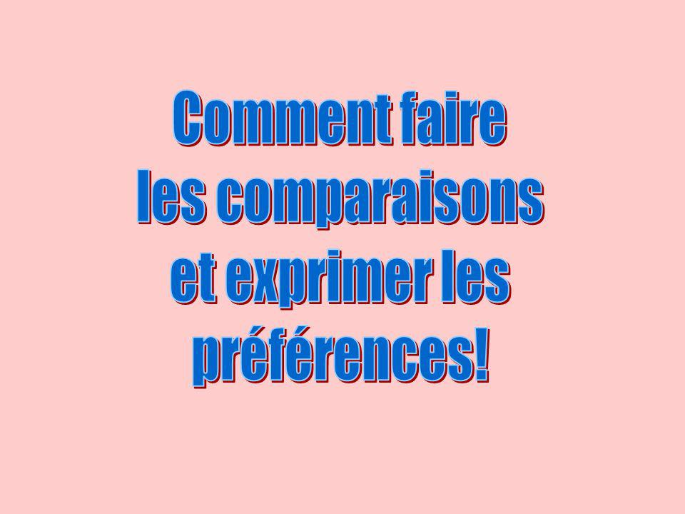 Comment faire les comparaisons et exprimer les préférences!