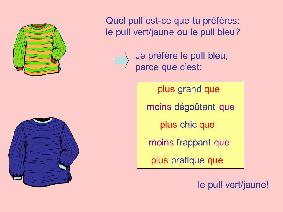 Quel pull est-ce que tu préfères: