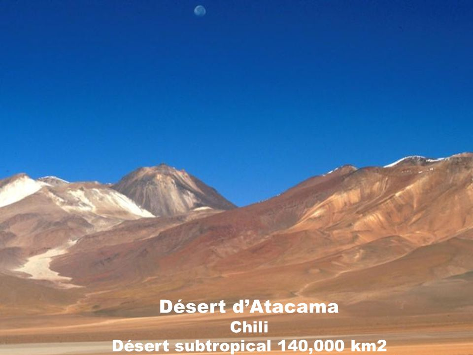 Désert d'Atacama Chili Désert subtropical 140,000 km2