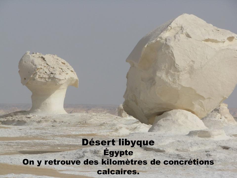 Désert libyque Égypte On y retrouve des kilomètres de concrétions calcaires.