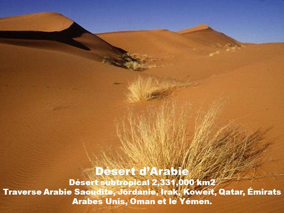 Désert d'Arabie Désert subtropical 2,331,000 km2 Traverse Arabie Saoudite, Jordanie, Irak, Koweït, Qatar, Émirats Arabes Unis, Oman et le Yémen.