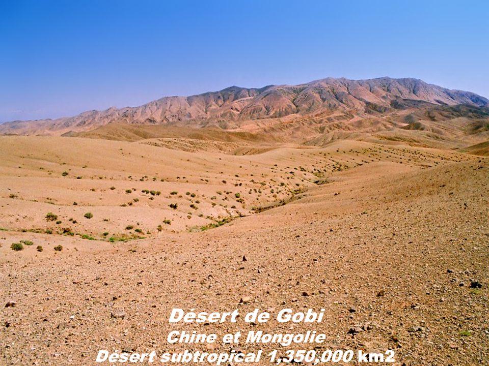Désert de Gobi Chine et Mongolie Désert subtropical 1,350,000 km2
