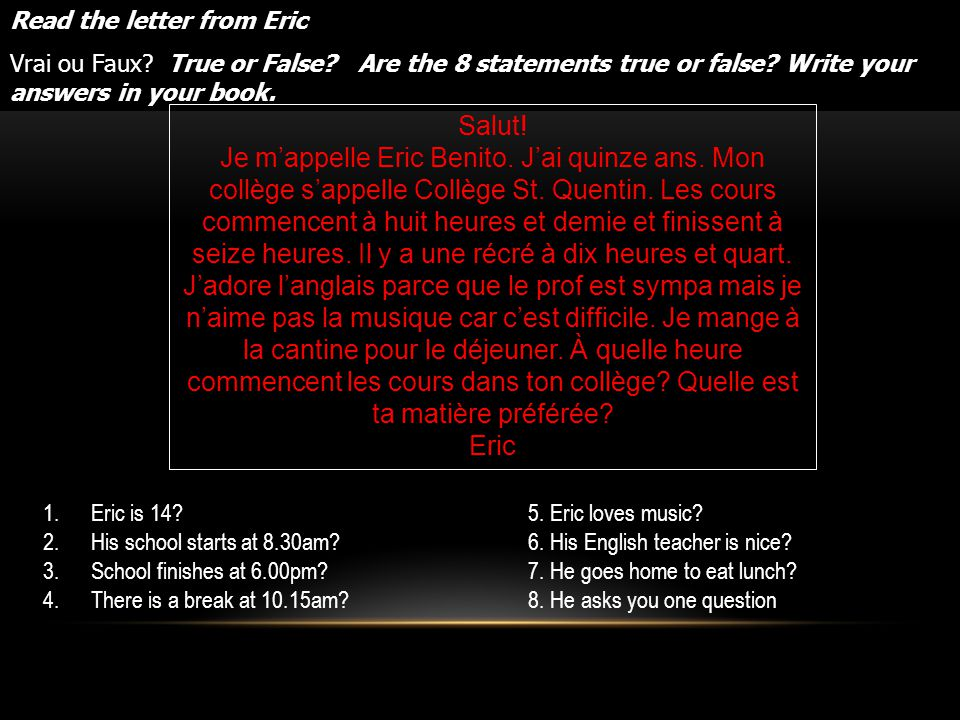 Read the letter from Eric