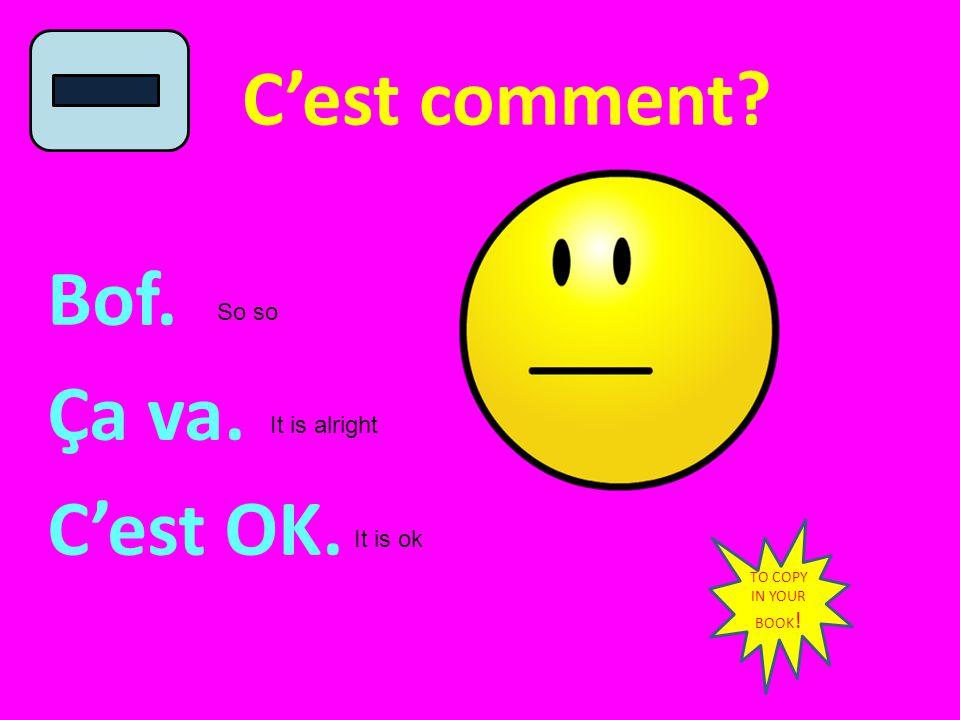 C'est comment Bof. Ça va. C'est OK. So so It is alright It is ok