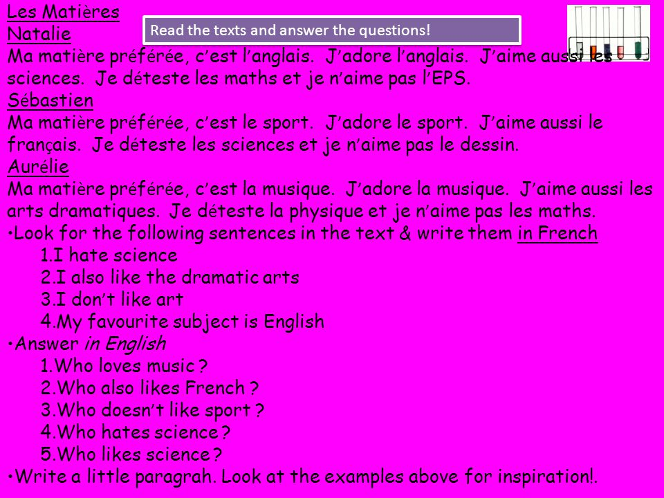 Look for the following sentences in the text & write them in French