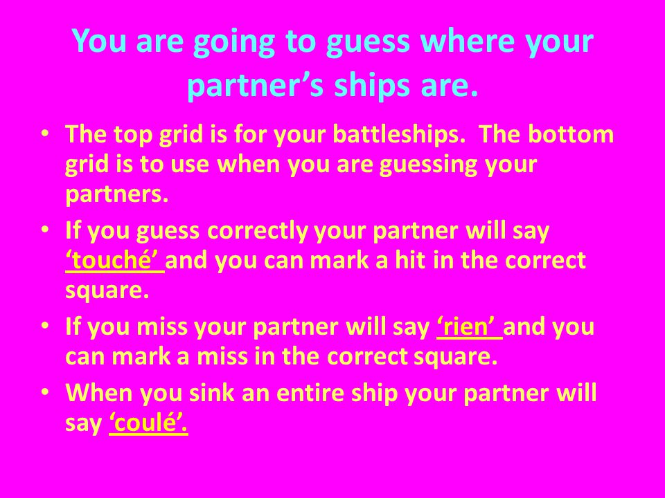 You are going to guess where your partner's ships are.