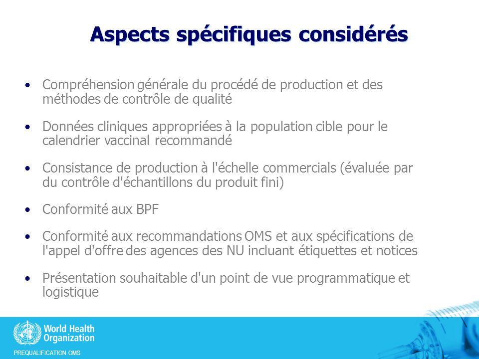 Aspects spécifiques considérés