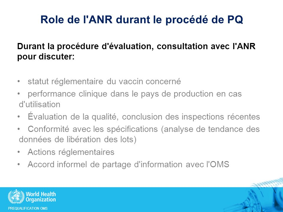 Role de l ANR durant le procédé de PQ