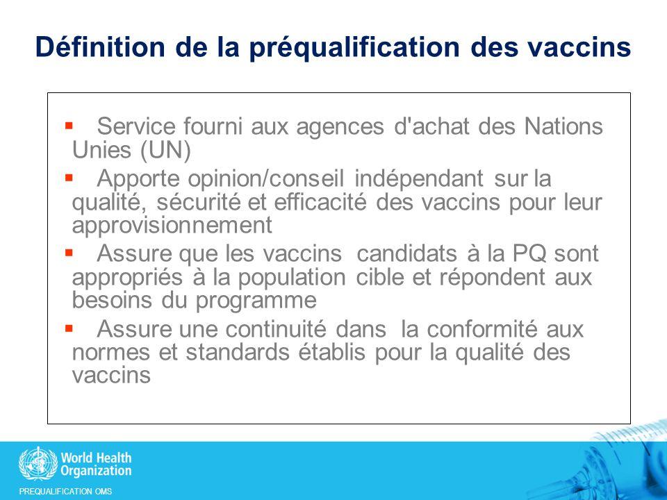 Définition de la préqualification des vaccins