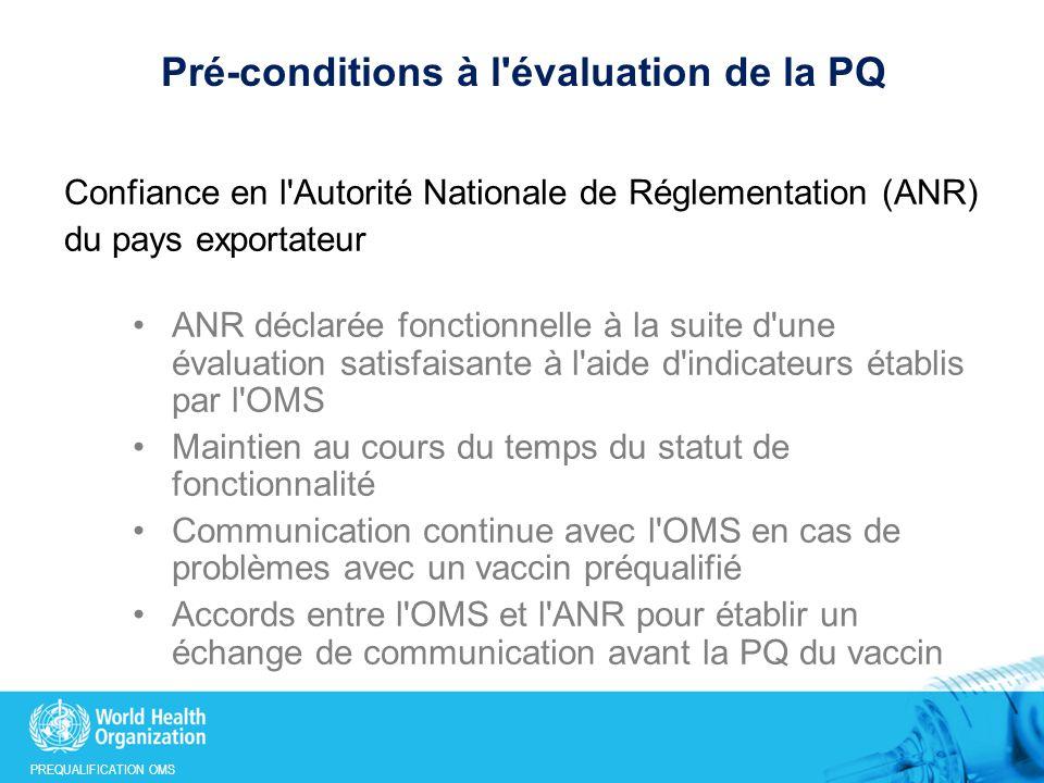 Pré-conditions à l évaluation de la PQ