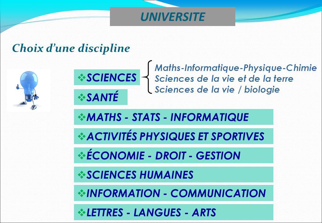UNIVERSITE Choix d'une discipline SCIENCES SANTÉ