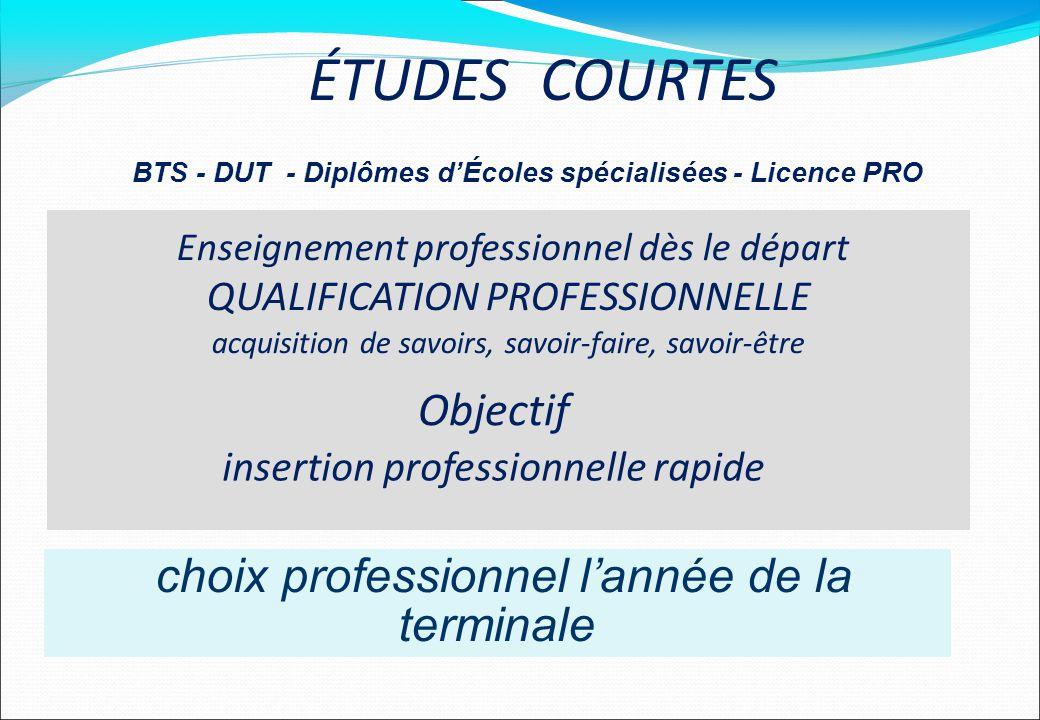 BTS - DUT - Diplômes d'Écoles spécialisées - Licence PRO
