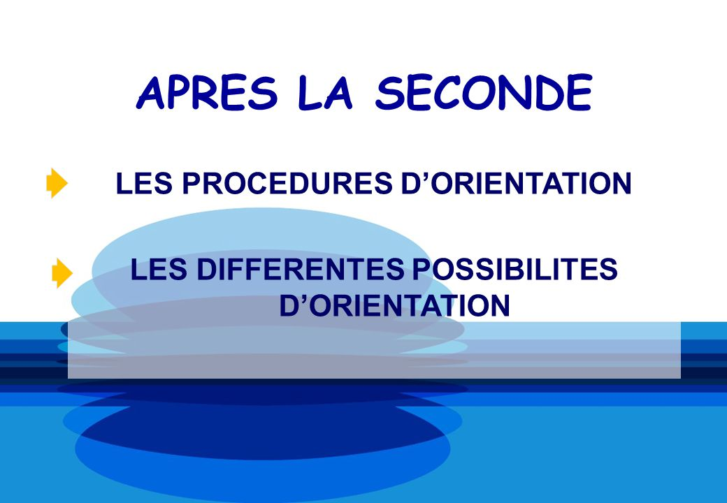 APRES LA SECONDE LES PROCEDURES D'ORIENTATION
