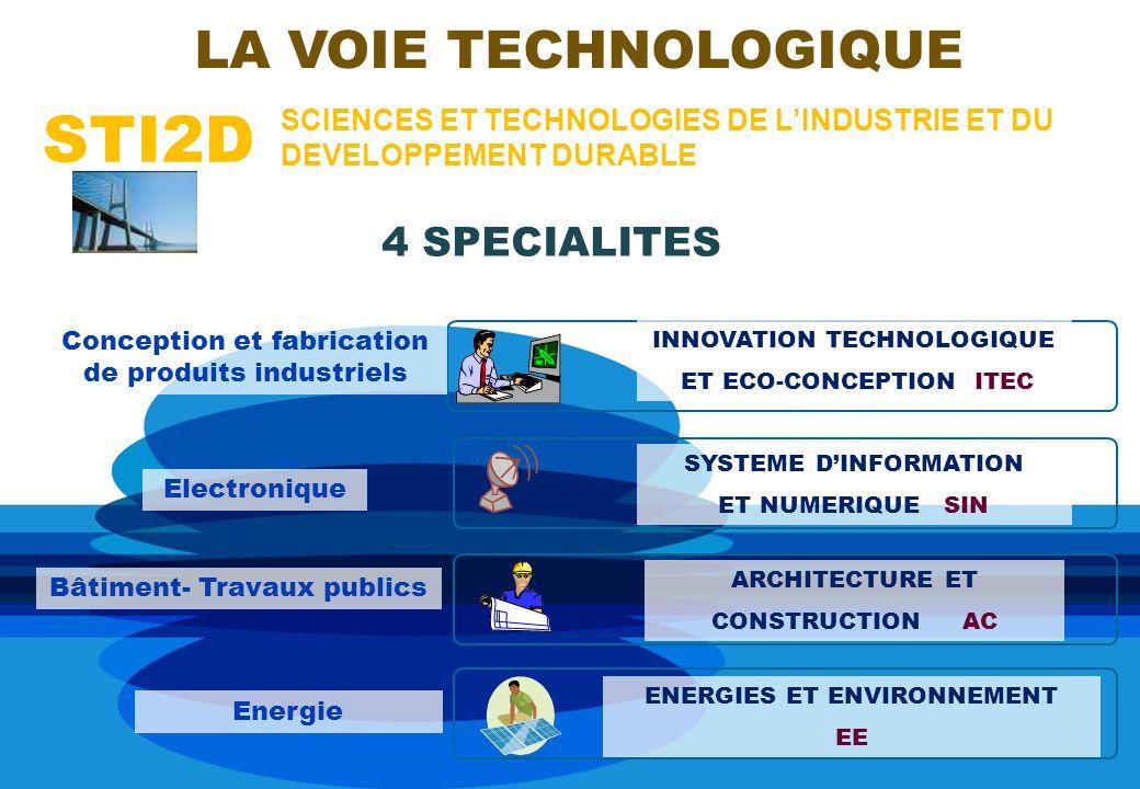 STI2D LA VOIE TECHNOLOGIQUE 4 SPECIALITES